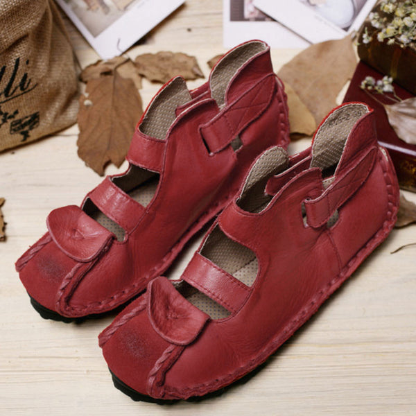 Stylish Leather Retro Wild Women Red Sandals - Buykud