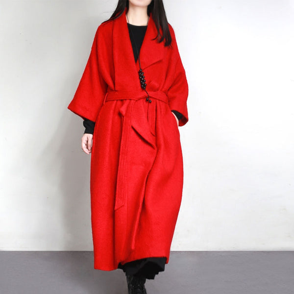 Polo Collar Wool Rayon Long Sleeves Autumn Winter Red Women Coat - Buykud