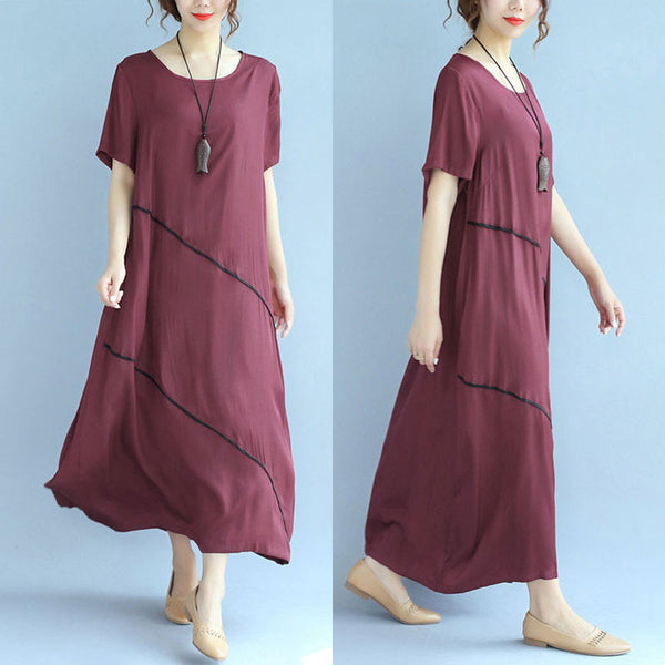 Splicing Women Loose Folded Casual Retro Red Dress - Buykud