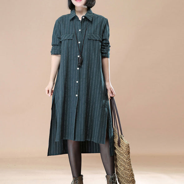 Polo Collar Single Breasted Stripe Green Long Sleeve Side Slit Dress - Buykud