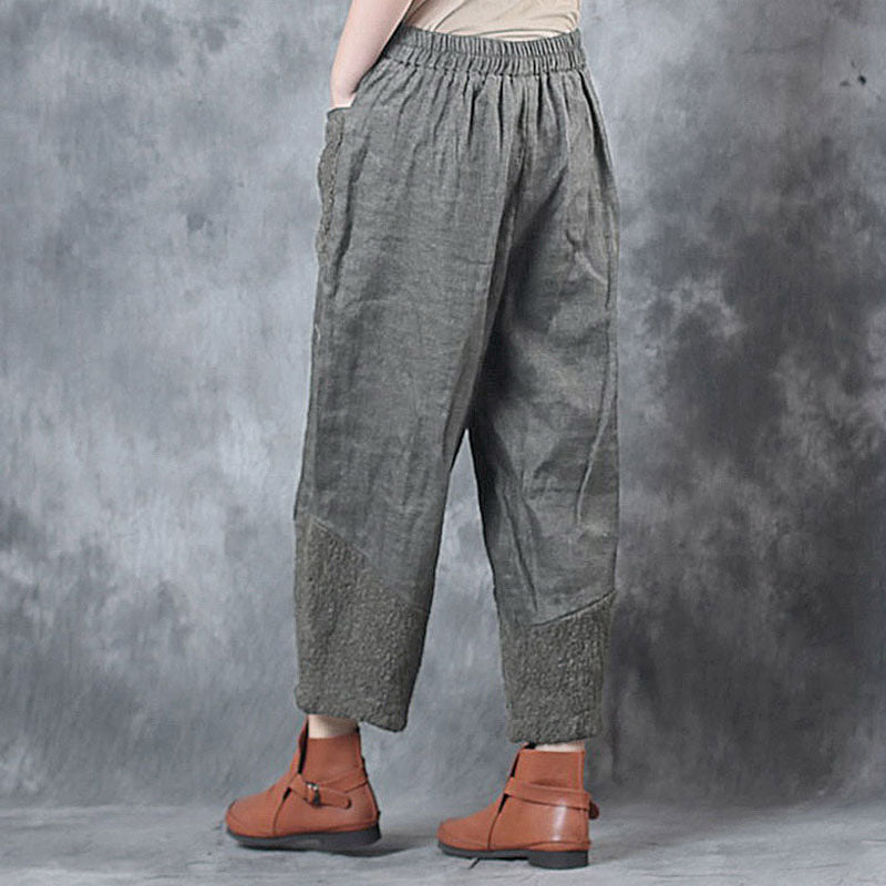 Casual Splicing Women Loose Spring Autumn Brown Pants - Buykud
