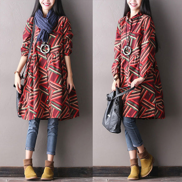 Cotton Stitching Autumn Korean Stripe Dress