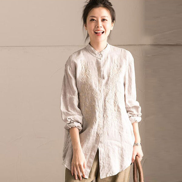 Irregular Loose Women Straight Embroidered Linen Shirt