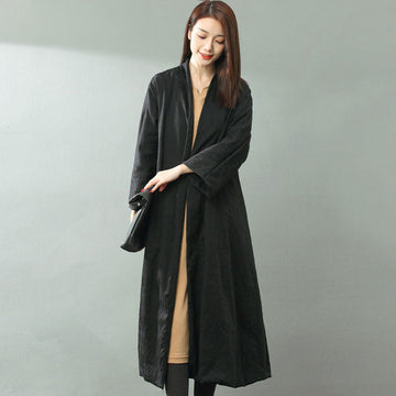 Women V Neck Three Quarter Long Black Trench Coat - Buykud
