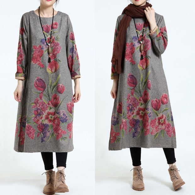 Loose Elegant Printing Thickening Dress - Buykud
