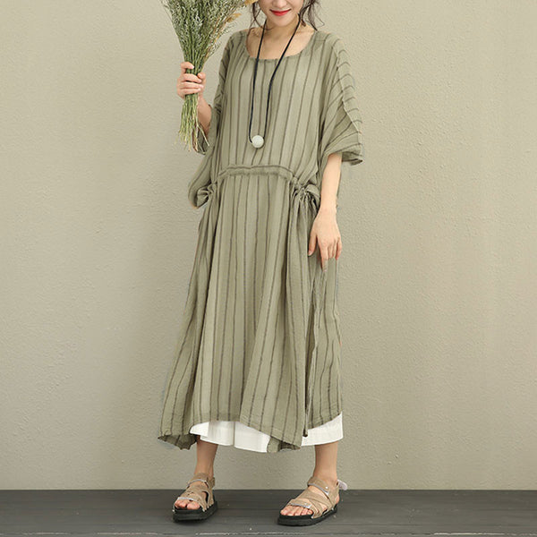 Women Stripe Lacing Slim Splitting Retro Khaki Dress