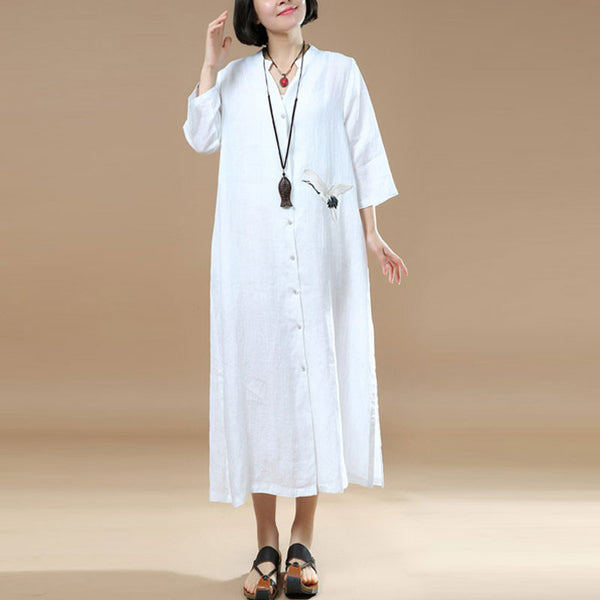 Women Loose Embroidered Casual Linen Irregular White Dress
