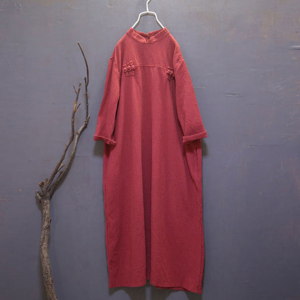 Distressed  Loose Stand Collar Retro Gown - Buykud