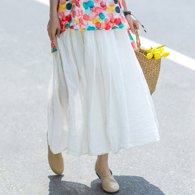 Retro Summer Pockets Pleated Long White Skirts