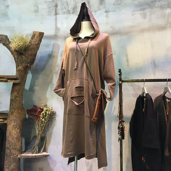 Spring Hooded Loose Casual Dress