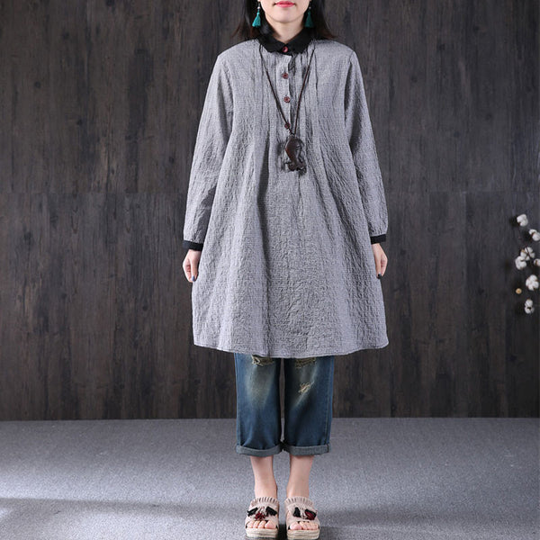 Women Cotton Loose Long Sleeve Blouse Gray