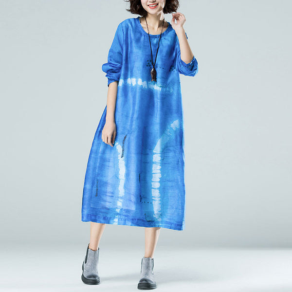 Loose Women Linen Retro Silk Cotton Dress