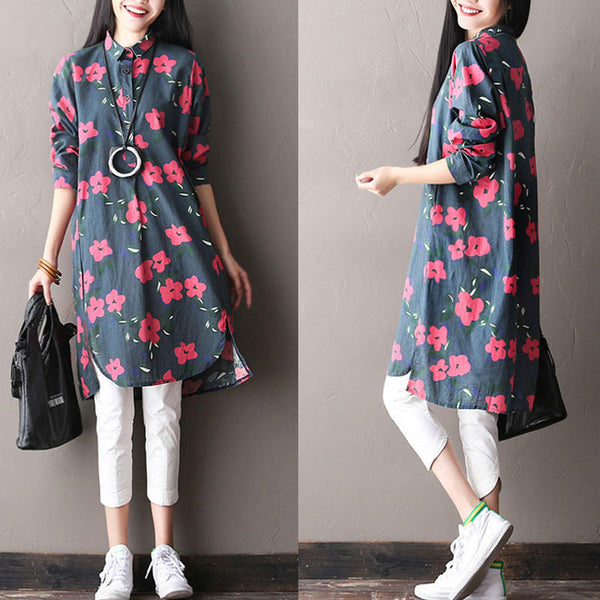 Spring Women Floral Cotton Dress