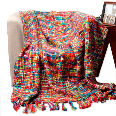 Acrylic Multicolor Sofa Blanket With Tassels