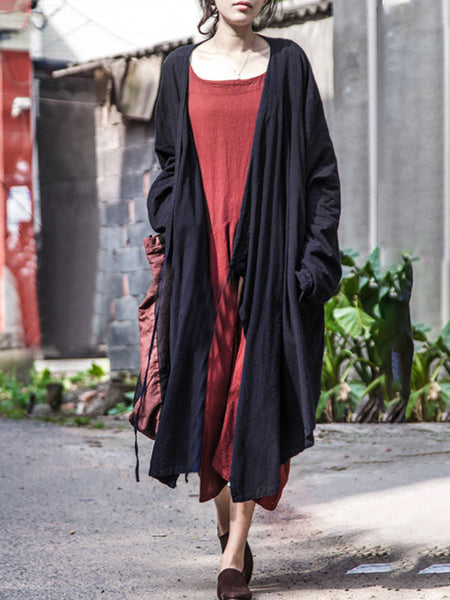 Women Cardigan Casual Loose Pockets Side Slit Strap Coat - Buykud