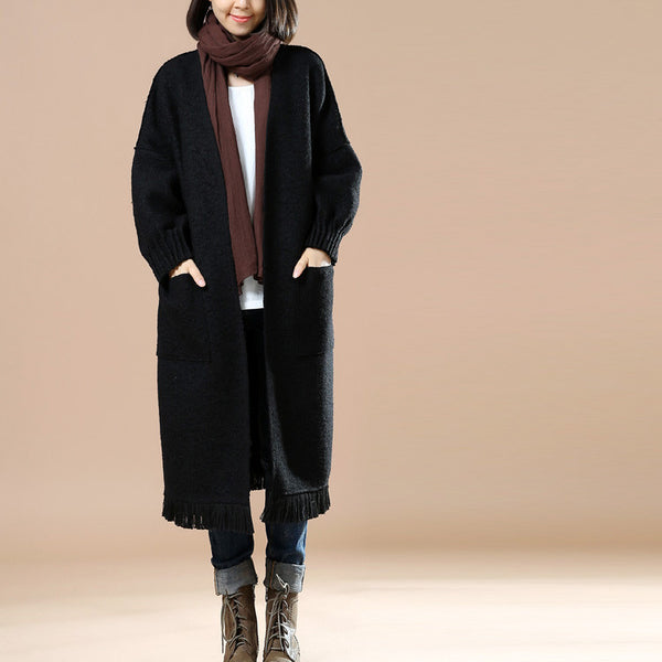 Winter Women's Loose Woolen Long Sleeves Dark Black Overcoat