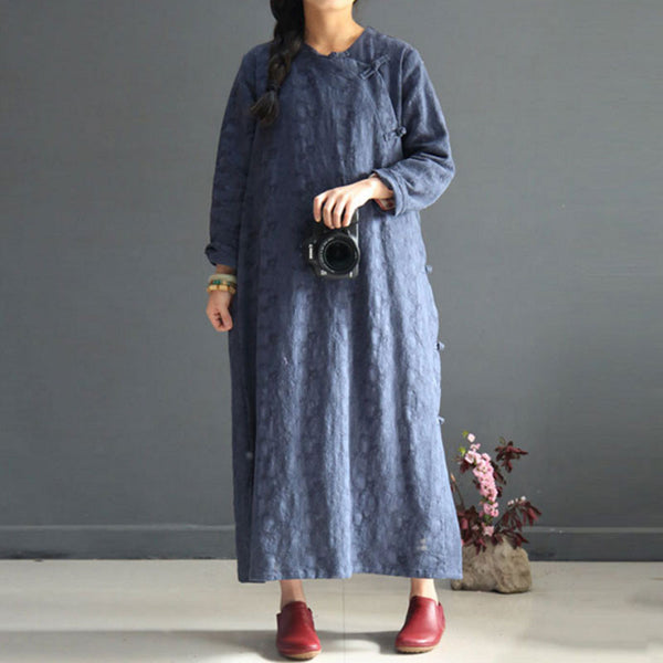 Women Retro Round Neck Frog Long Sleeves Dark Blue Dress