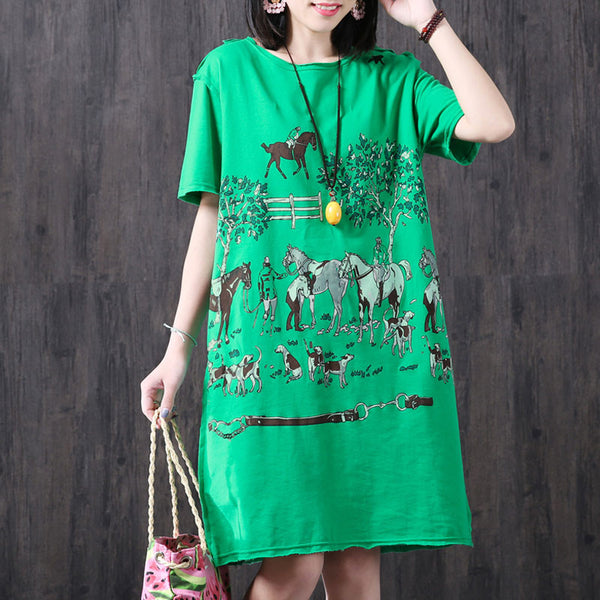Loose Printing Women Casual Pocket Summer Green Dress