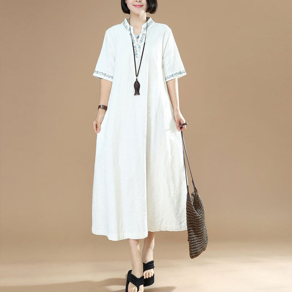 Women Ethnic Frog Embroidered Cotton White Dress - Buykud