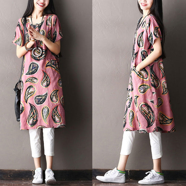 Women Loose Ethnic Button Splicing Pocket Cotton Pink Dress - Buykud