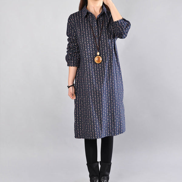 Casual Printing Cotton Navy Blue Dress