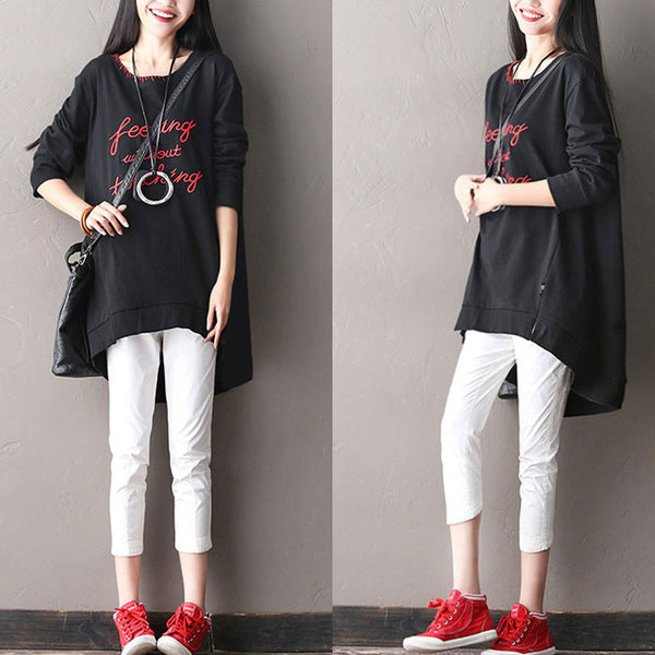 Irregular Loose Cotton Women Shirt - Buykud