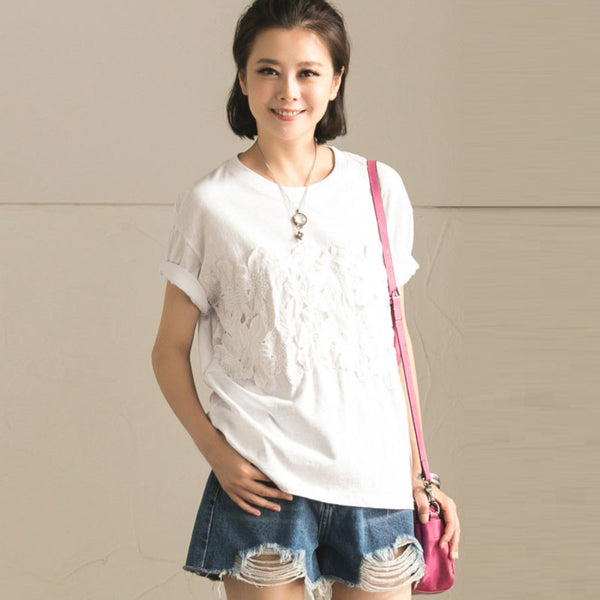 Summer Women  Casual Short Sleeve White Shirt - Buykud