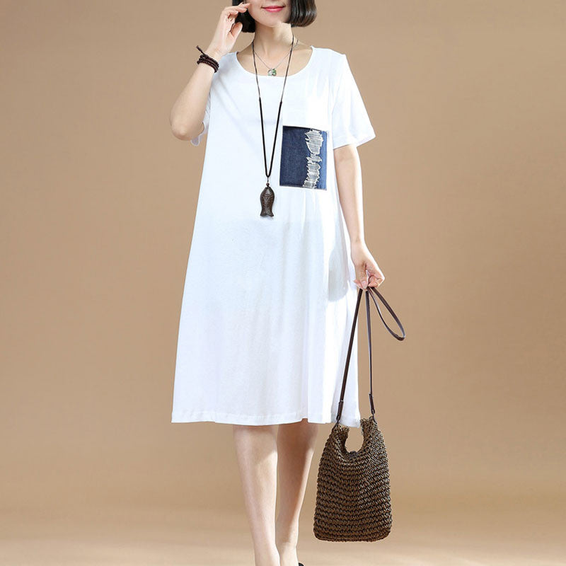 Printing Loose Summer Women Casual Cotton Short Sleeves White Dress - Buykud