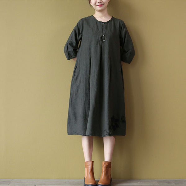 Floral Cotton Women Linen Loose Round Neck Gray Dress - Buykud