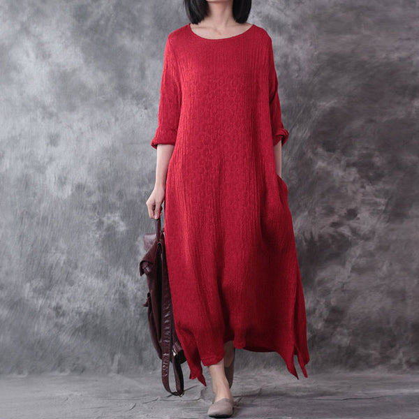 Women Casual Loose Cotton Linen 3/4 Long Sleeve Dress