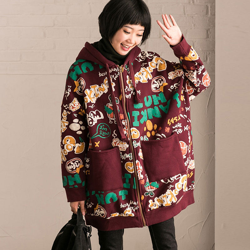 Women Print Casual Loose Large Size Winter Hooded Coat
