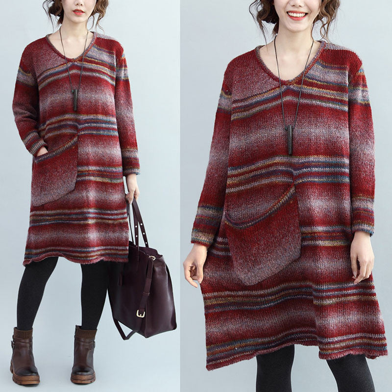 Red Stripes Loose Sweater