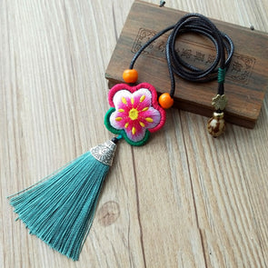 Ethnic Embroidered Necklaces Flower Tassel Necklace