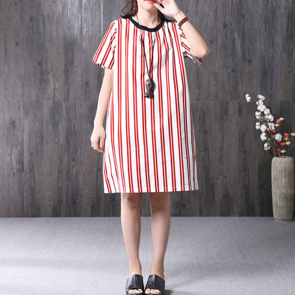 Women Cotton Stripe Round Neck Short Sleeve Loose Red Dress - Buykud