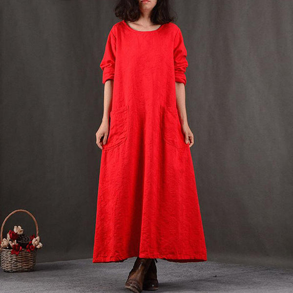 Round Neck Cotton Women Casual Loose Red Dress