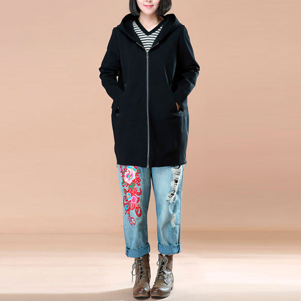 Autumn Women Hooded Zipper Black Coat - Buykud