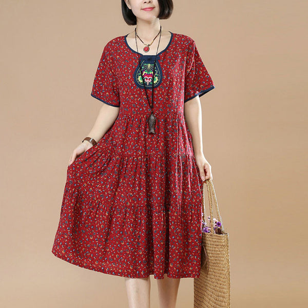 Summer Ethnic Floral Short Sleeves Women Red Dress