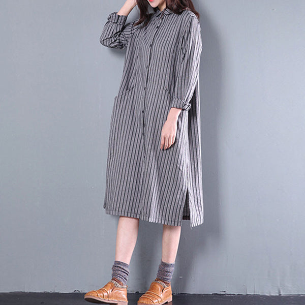 Linen And Cotton Stripe Pocket Long Shirt - Buykud