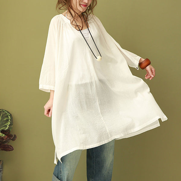 Cotton Women Loose Casual Summer Folded White Shirt