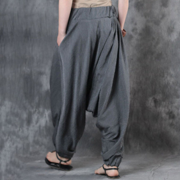 Cotton Linen Loose Casual Zipper Women Stripe Gray Pants - Buykud