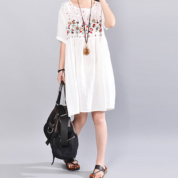 Summer Women Embroidered Casual Printing Short Sleeve White Dress
