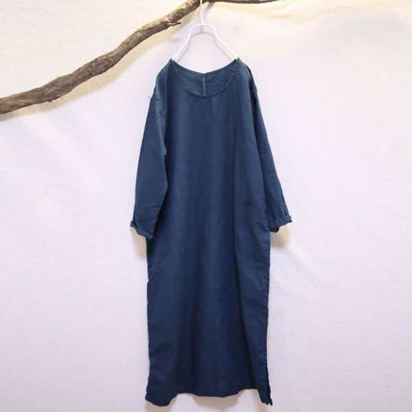 Round Neck Loose Linen Retro Green Dress