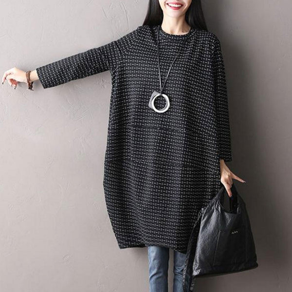 Black Cotton Round Neck Dress