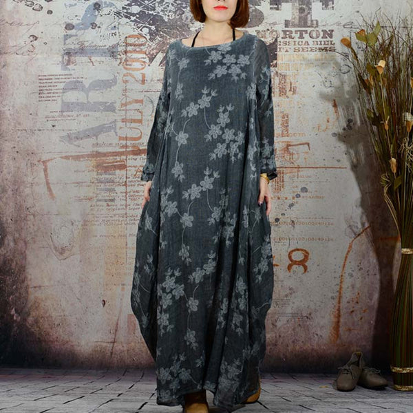 Loose Cotton Linen Dress - Buykud