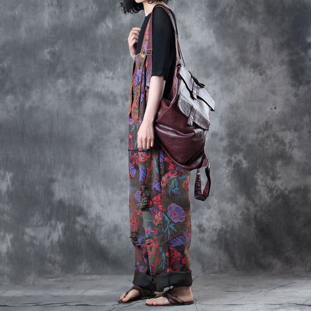 Retro Printed Wide Leg Trouser Spring Cotton Jumpsuit - Buykud