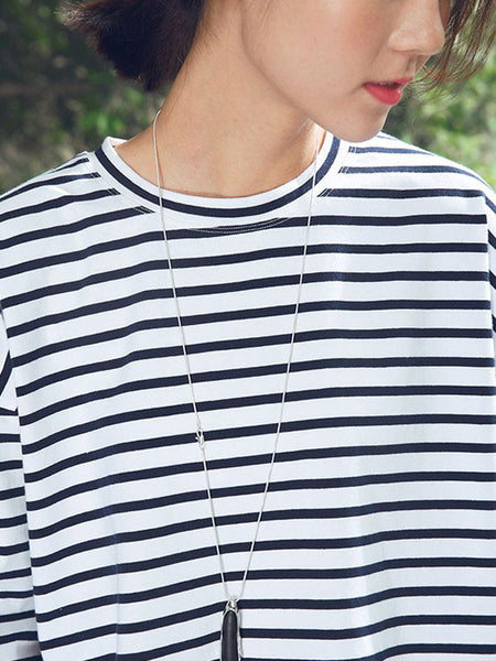 Round Neck Cotton Stripe Women Short Sleeves Blue Shirt