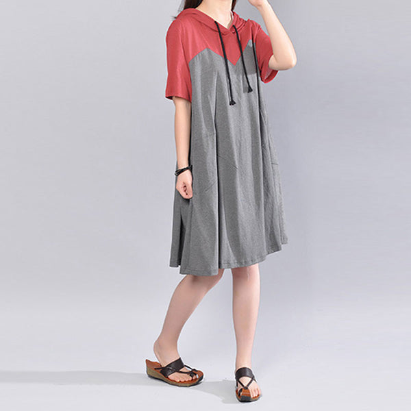 Hooded Cotton Splicing Short Sleeve Pockets Casual Women Summer Gray Dress - Buykud