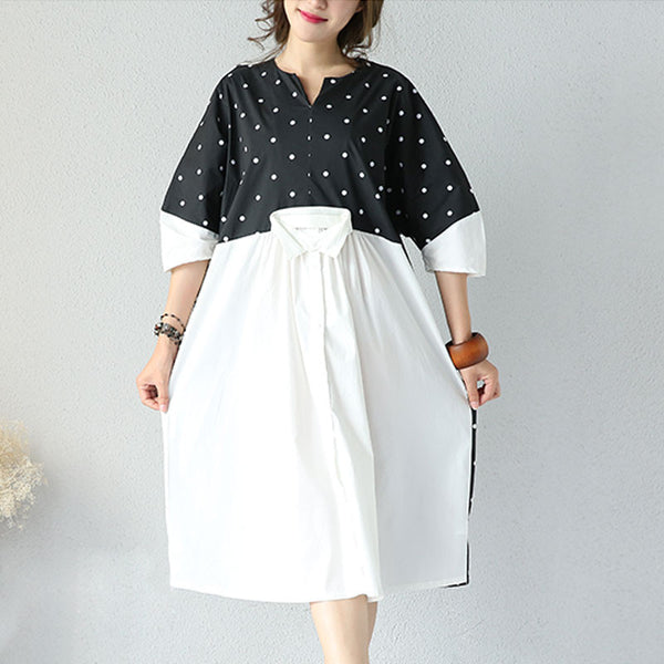 Summer Women White And Black Dot Dress - Buykud
