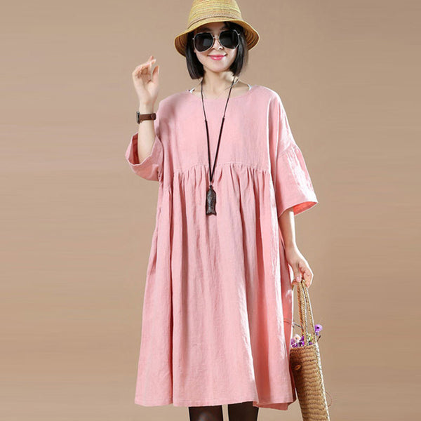 Cotton Linen Loose Women Round Neck Pink Dress