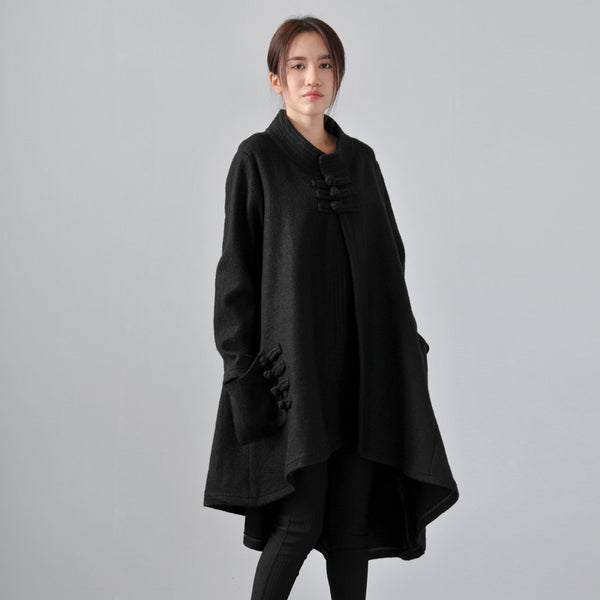 Black Retro Loose Wool Coat